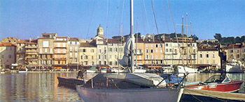 Dockside panorama of the port in St. Tropez